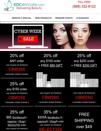 Cyberweek Skincare Sale  20-35% off  $85 or $250 Gift  Only 3 Days Left