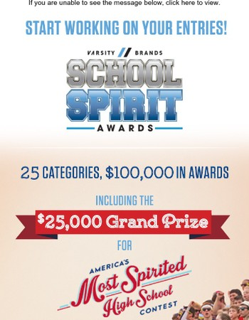 It's Time!  Start working on your submissions for the 2018 Varsity Brands School Spirit Awards.