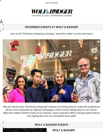 December events at Wolf & Badger
