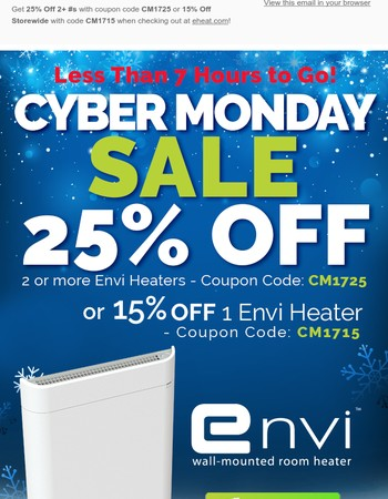 Envi's Biggest Sale ends in 7 hours! Get 25% Off Your Envi Heaters + Free Shipping!