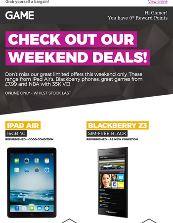 Check out our Weekend Deals!