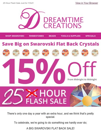 25 Hour FLAT BACK Sale!