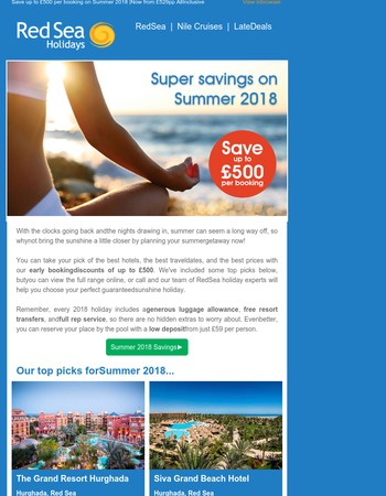 Super Summer savings with no hidden extras + low deposit