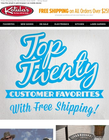 FREE Shipping On Our Top 20!