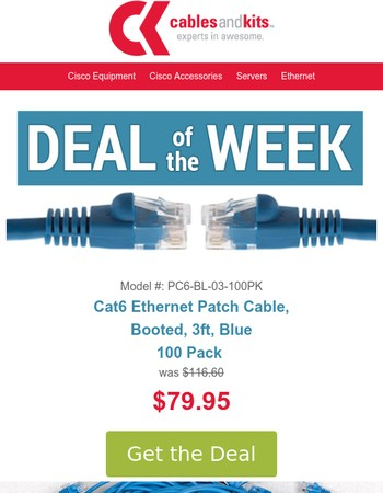 $79.95 100 Pack CAT6 Booted, 3ft, Blue, Ethernet Cables