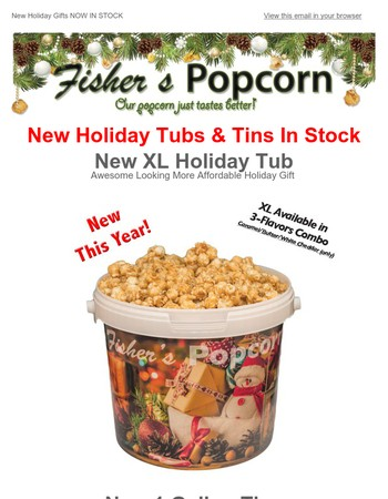 Holiday Tubs & Tins now in stock!!