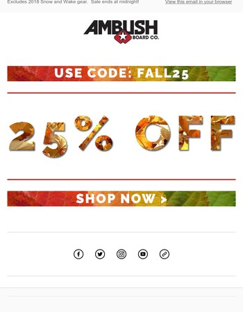 Sale ends at midnight! Get 25% off using code FALL25