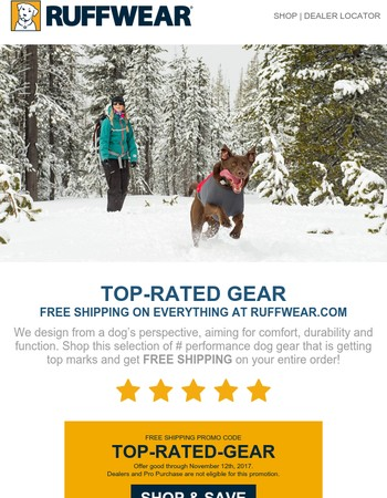 FREE SHIPPING on our top-rated gear