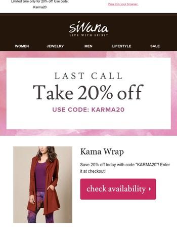 [ S A L E ] 20% off your Kama Wrap!