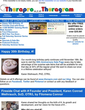 Therapro Newsletter - Happy 30th Birthday, Therapro!