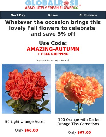 Whatever the occasion brings this lovely Fall flowers to celebrate  and save 5% off