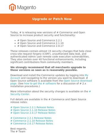 Important Magento 2.x Security Updates