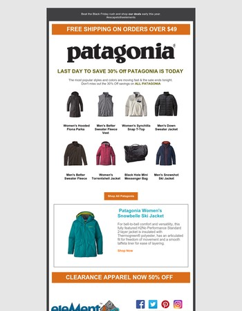 Reminder - 30% Off Patagonia Ends Tonight