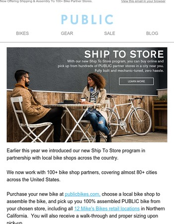 Now Offering Shipping & Assembly To 100+ Bike Partner Stores.