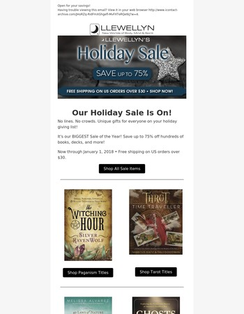 Our Holiday Sale Is On!