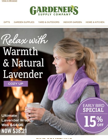 Get Cozy and Save with more Early Bird Specials!