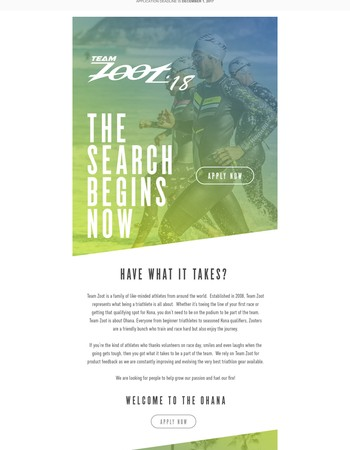 The Search Begins - Apply for Team Zoot 2018