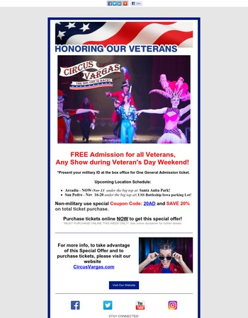 Veterans FREE Admission to Circus Vargas This Weekend!