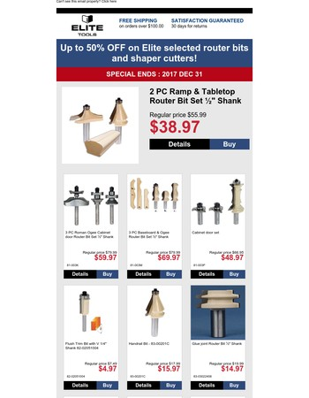Up to 50% OFF on Elite selected router bits and shaper cutters!