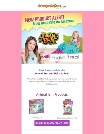 Now Available on Amazon: The Perfect Holiday Gifts! Animal Jam and Make it Real!