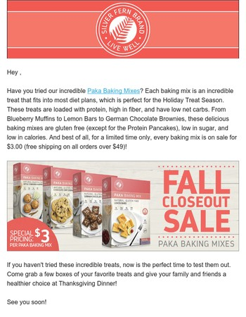Huge Sale! All Baking Mixes are just $3.00!