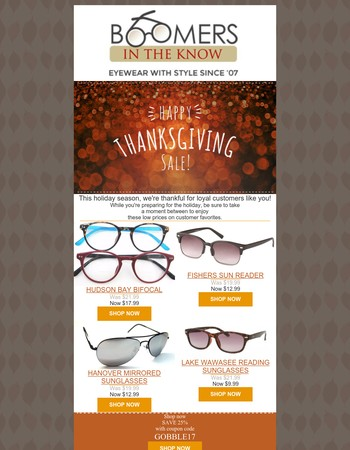 Thanksgiving markdowns +25% OFF COUPON especially for you