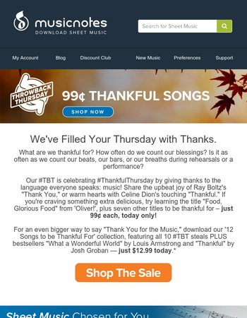 12 Thankful Songs, Just 99¢ Each!