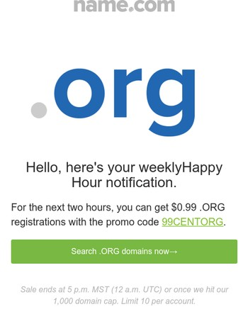 Happy Hour just started: $0.99 .ORG