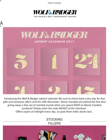 The Wolf & Badger Advent Calendar is here! Plus stocking fillers for him and her