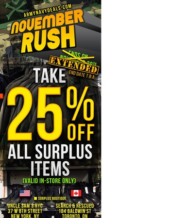 25% OFF SURPLUS EXTENDED