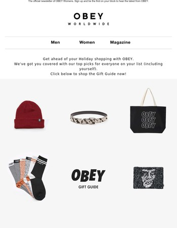 HOLIDAY GIFTS THE OBEY WAY