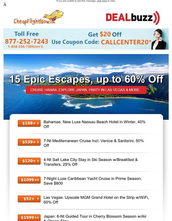 Brand New Bahamas Resort from $188, Salt Lake Ski Package from $120 & More!