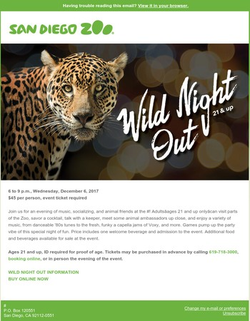 Wild Night Out--Ages 21 and Up at the Zoo