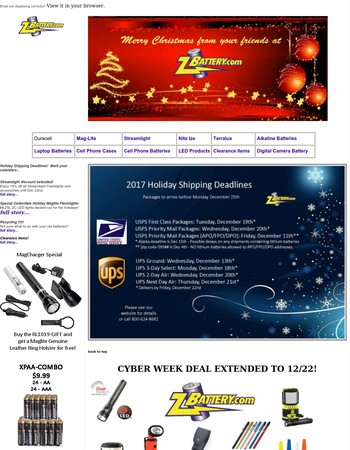 Zbattery.com December Specials and Holiday Shipping Deadlines