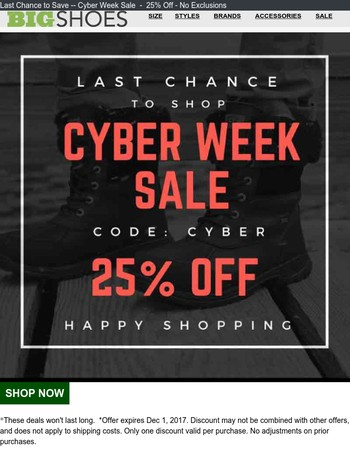 25% Off.... Last Chance for Cyber Sale