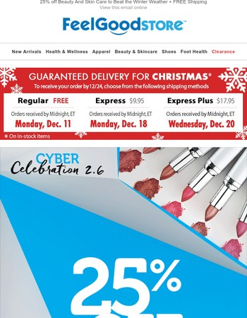 25% off Beauty And Skin Care to Beat the Winter Weather + FREE Shipping