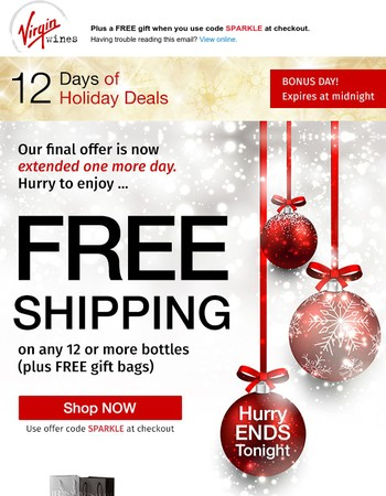 Guess what? FREE SHIPPING extended until midnight