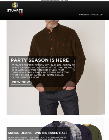 Prepare For Party Season With Our Selection Of Shirts;  Featuring Armani Jeans,  The BOSS Signature Collection, Human Scales, Y-3 & More