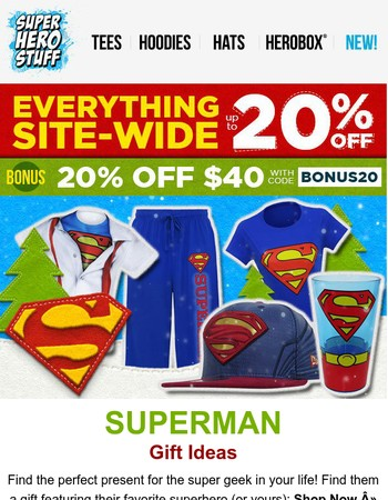 Superman Gifts up to 20% Off