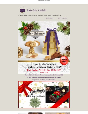 Ring in the Yuletide with a Delicious Bakery Gift! Save15%