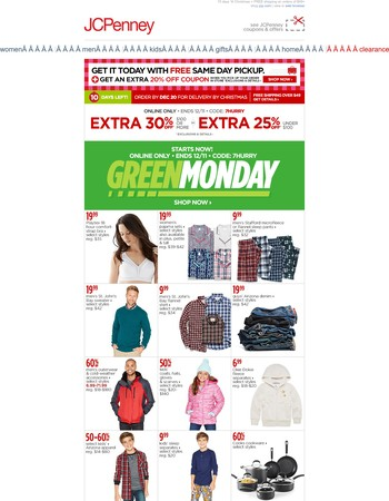 Green Monday came early - Surprise! EXTRA 30% off.