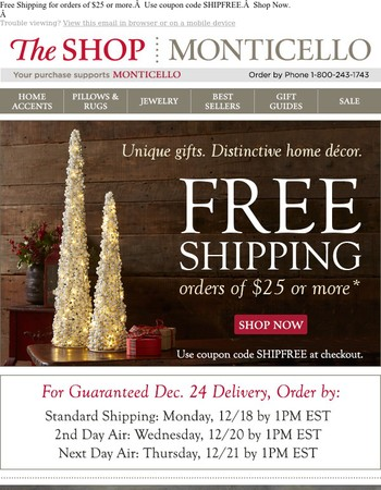 Free Shipping | Holiday Decorating | 100's of Unique Gifts
