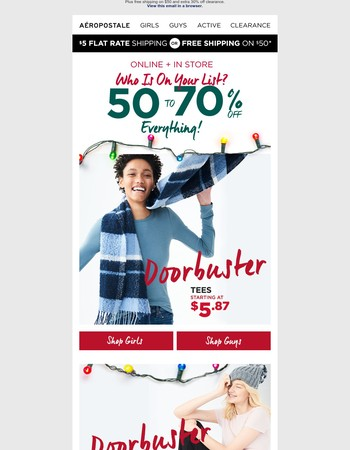 50-70% Off + Doorbusters Starting at $5.87