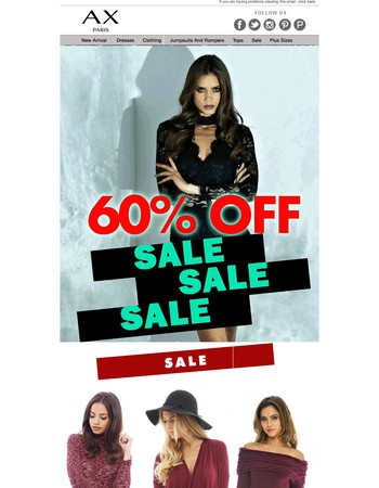 Hurry Extra 60% OFF SALE