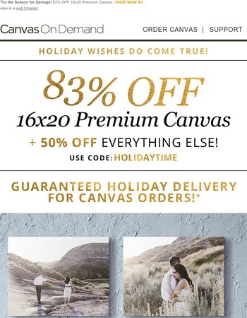 Get a 16x20 premium canvas for just $21 + Guaranteed holiday delivery!