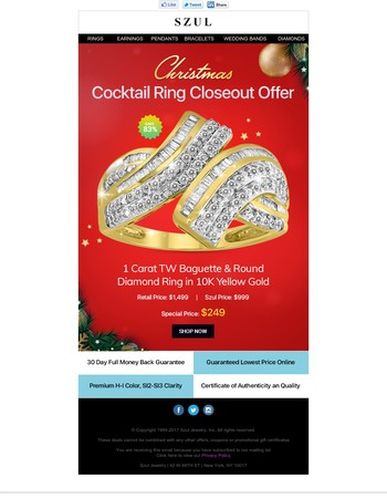 CLOSEOUT: 1 Ct. Diamond Baguette Cocktail Ring - $249