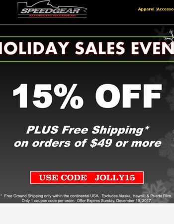 Holiday Sales Event|15% off & Free Shipping*| Ends Tonight!