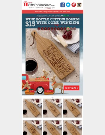 Engraved Wine Bottle Cutting Boards $15