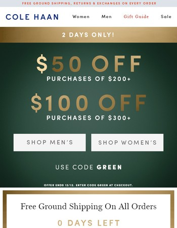 2 Days Only! Up to $100 Off Your Purchase + Free Shipping