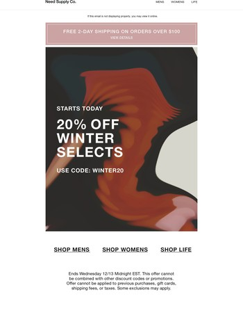 20% off Winter Selects Starts TODAY
